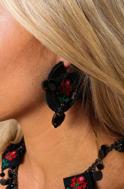 Black Rose Crystal Leather Hoop Earrings