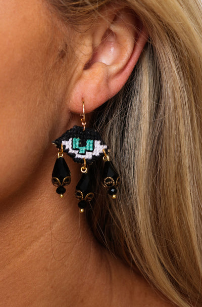 Mati With 3 Tears Earrings - Black