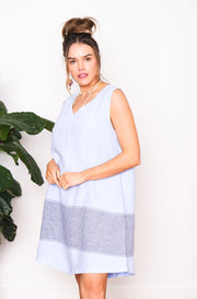 Paris Linen Shift Dress - Blue Stripe