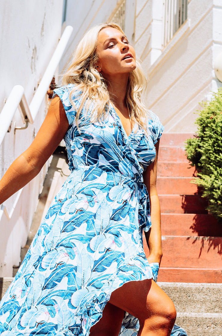 Maldives Dress - Blue Palms