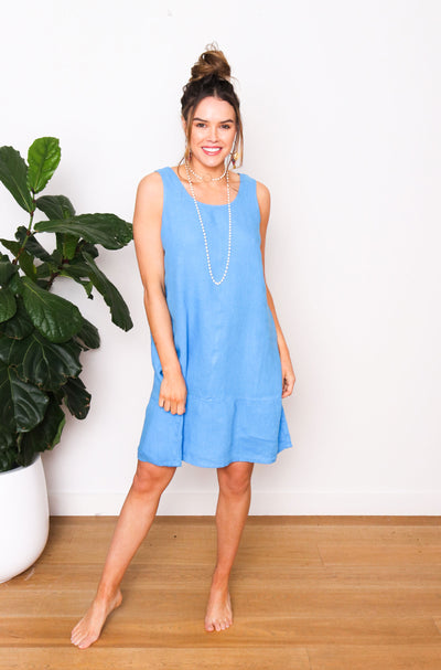Mia Linen Dress - Aegean Blue