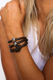 Rocks And Leather Double Cuff - Brown
