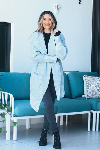BETTY BOUCLE CARDI | CENT BLUE