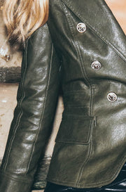Ivory And Chain No Excuse Pleather Jacket Olive