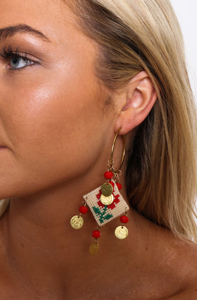 Red Rose Cross Stitch Hoop Earrings
