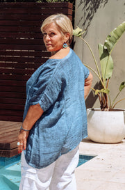KIITOS Gauze Top (Short) - Denim Blue