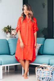 Elle Linen Shirt Dress - Coral