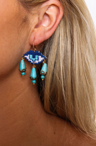Mati With 3 Tears Earrings - Blue