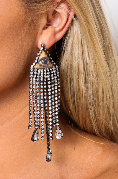 Eye Of Vintage Strass Earrings - Black