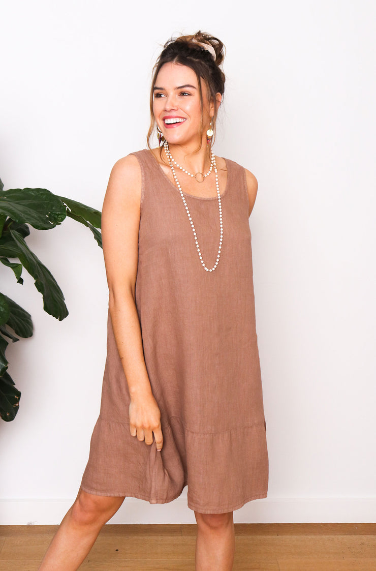 Mia Linen Dress - Frappe