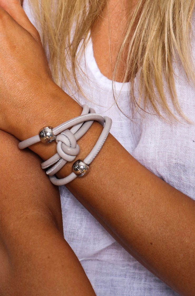 Rocks And Leather Double Cuff - Grey