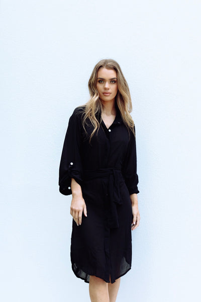 Diana Shirt Wrap Dress - Black