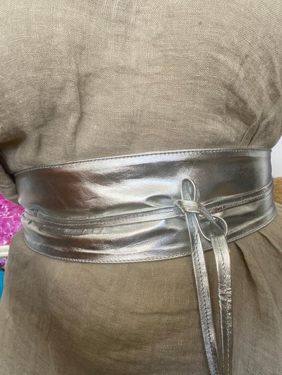 Wrap Leather Belt - Silver