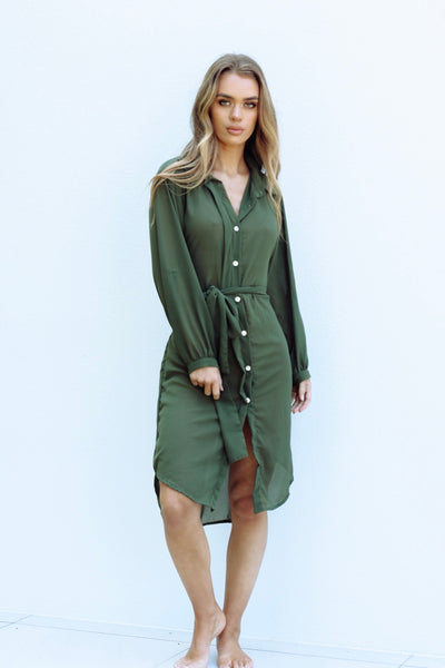 Diana Shirt Wrap Dress - Khaki