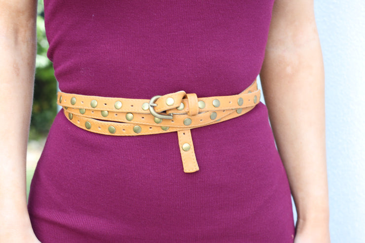 Vixen Stud Wrap Belt - Vintage Brown