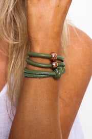 Rocks And Leather Double Cuff - Khaki