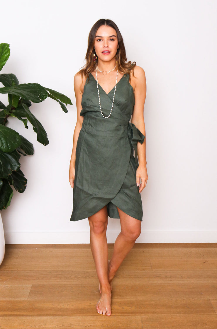 Native Speaker Cross Over Dress - Olive