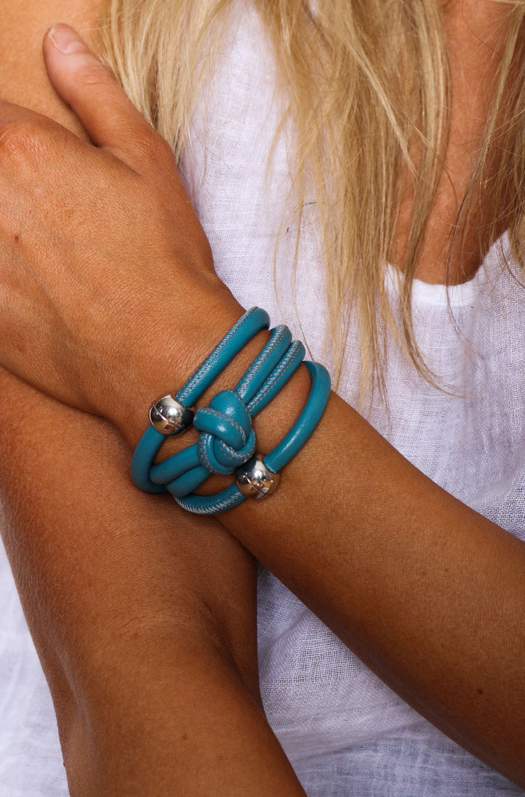 Rocks And Leather Double Cuff - Light Blue