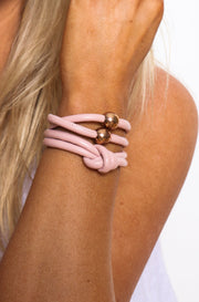 Rocks And Leather Double Cuff - Light Pink