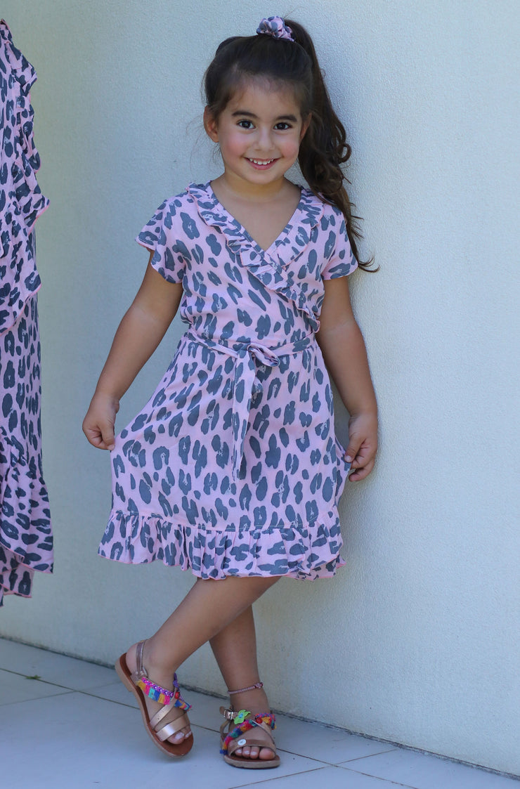 Sophia Junior Wrap Dress - Leopard Pink