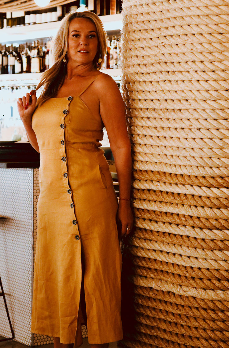 Button Down Midi Dress - Mustard