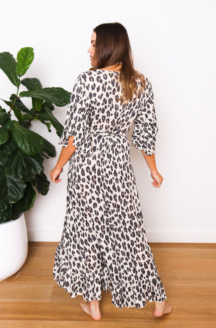Sophia Bell Wrap Dress - Leopard Natural Print