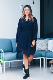 Diana Shirt Wrap Dress - Navy