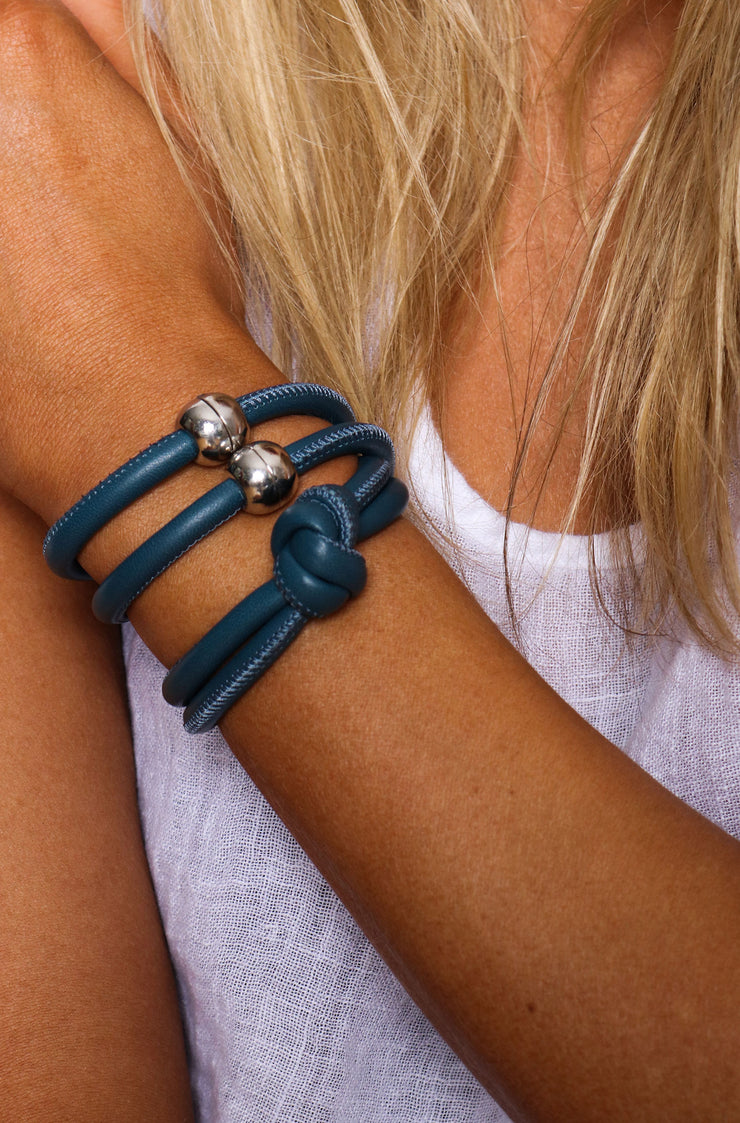 Rocks And Leather Double Cuff - Dark Blue