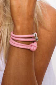 Rocks And Leather Double Cuff - Pink