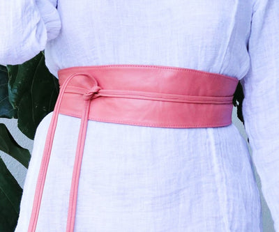 Wrap Leather Belt - Blush Pink
