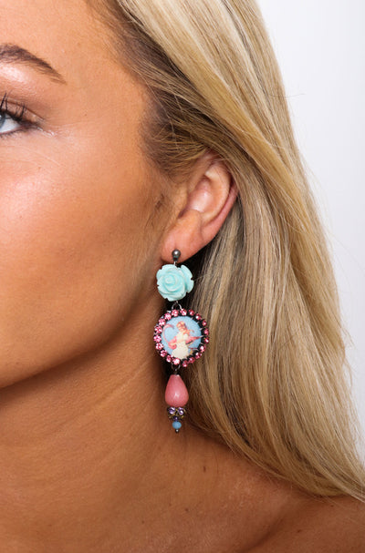Flamingo Blue Rose Earrings