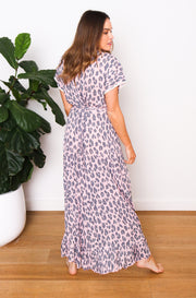 Leopard Maxi Wrap Dress - Pink