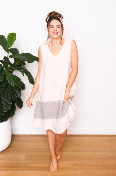 Paris Linen Shift Dress - Blush
