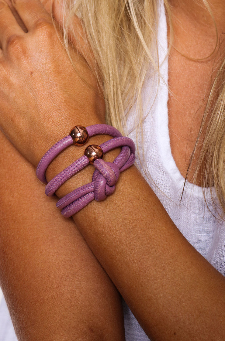 Rocks And Leather Double Cuff - Purple