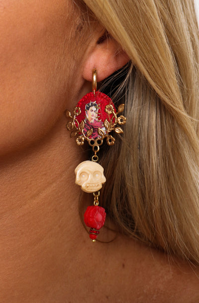 Frida Kahlo Red Earring