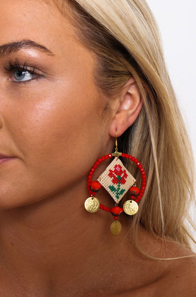 Rose Cross Stitch Chandelier Earrings