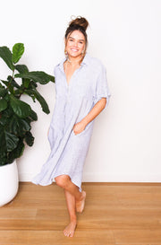Elle Linen Shirt Dress - Stripe