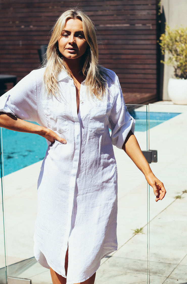 Elle Linen Shirt Dress - White