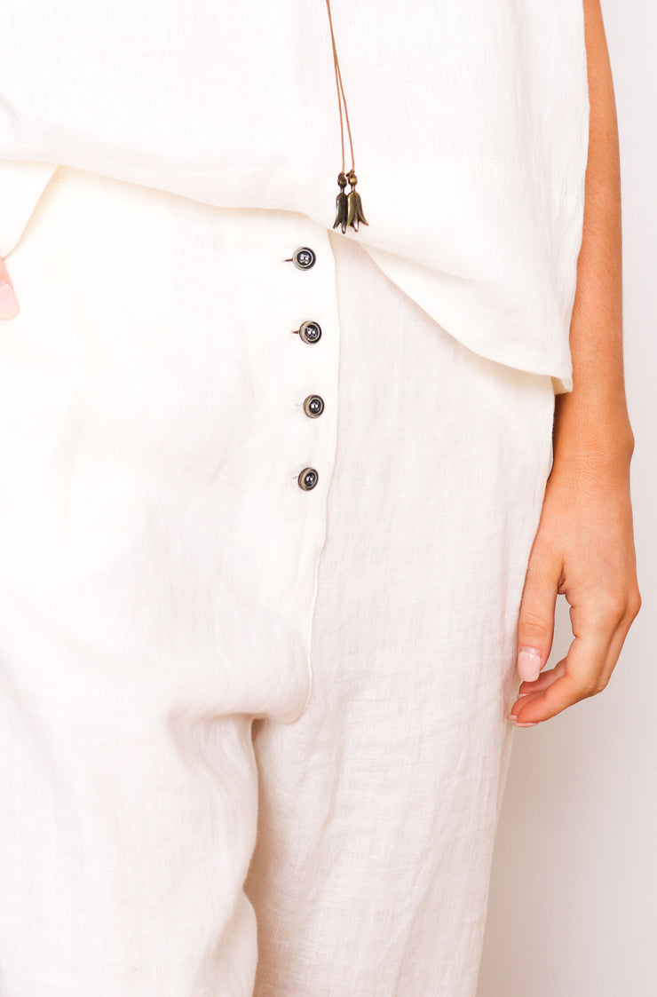 Native Speaker Button Front Pant - Off White