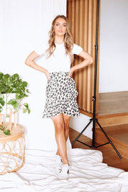 Tyra Wrap Skirt - Natural Leopard