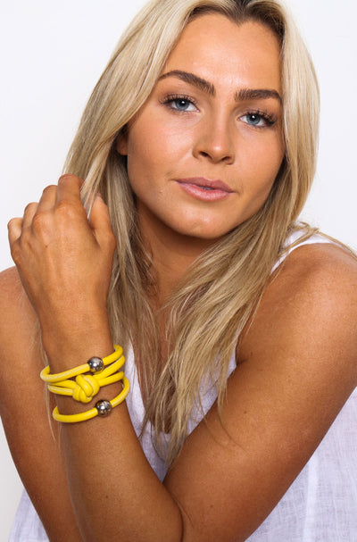 Rocks And Leather Double Cuff - Yellow