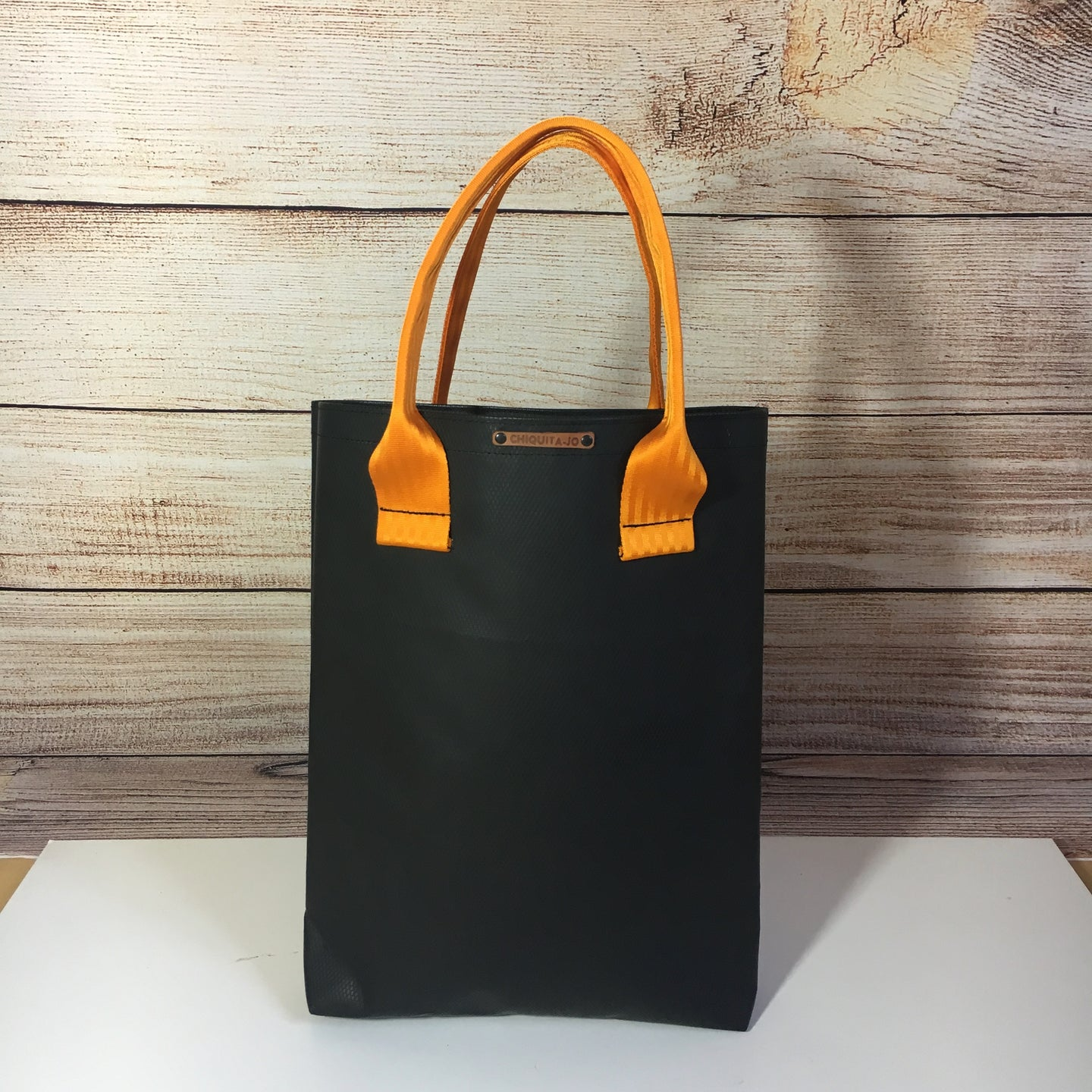 Shopper aus LKW-Plane CARBON/Orange - Ohne Leder