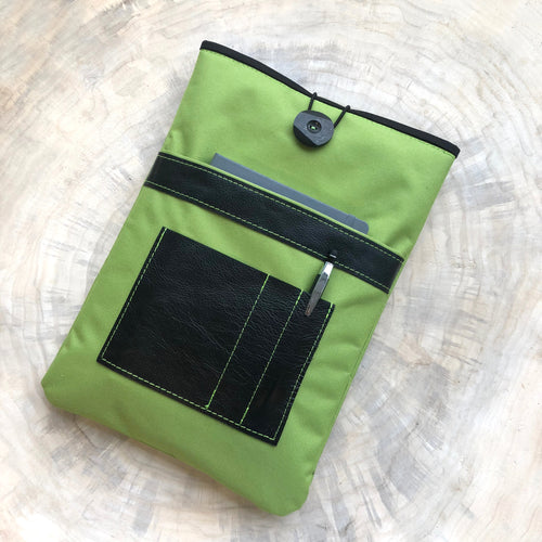 Segeltuch Notebooktasche mit ein Lederfach - Lime
