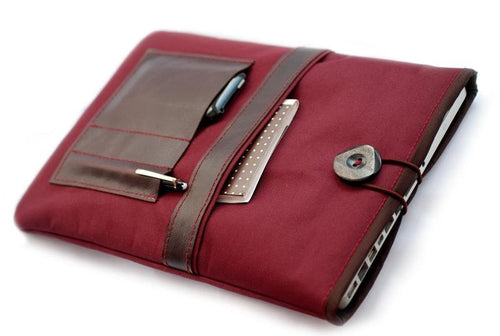 Segeltuch iPad - Notebooktasche mit Lederfach