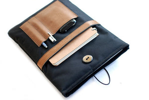 "Segeltuch Notebooktasche13"" mit Lederfach Black"