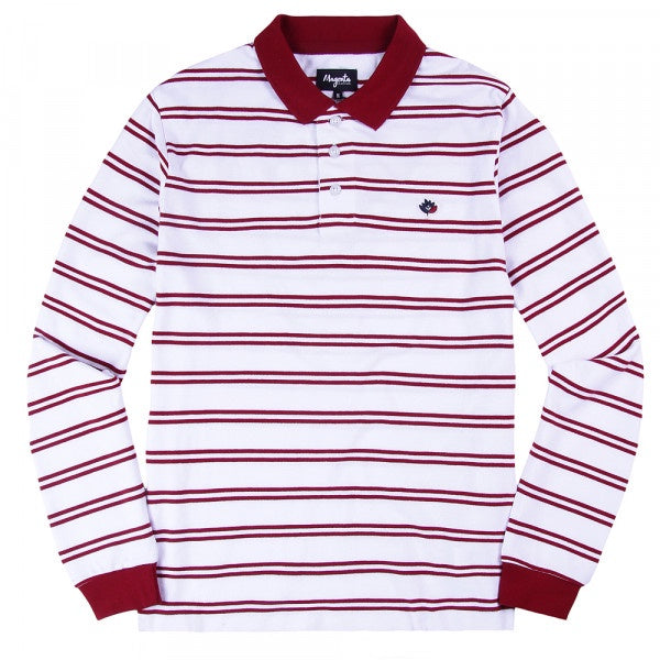Magenta Stripped Polo - White