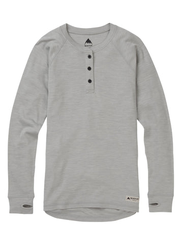 Burton WMS  Merino 3 Button Henley Base Layer - Monument Heather