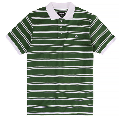 Magenta Striped SS Polo Shirt - Green