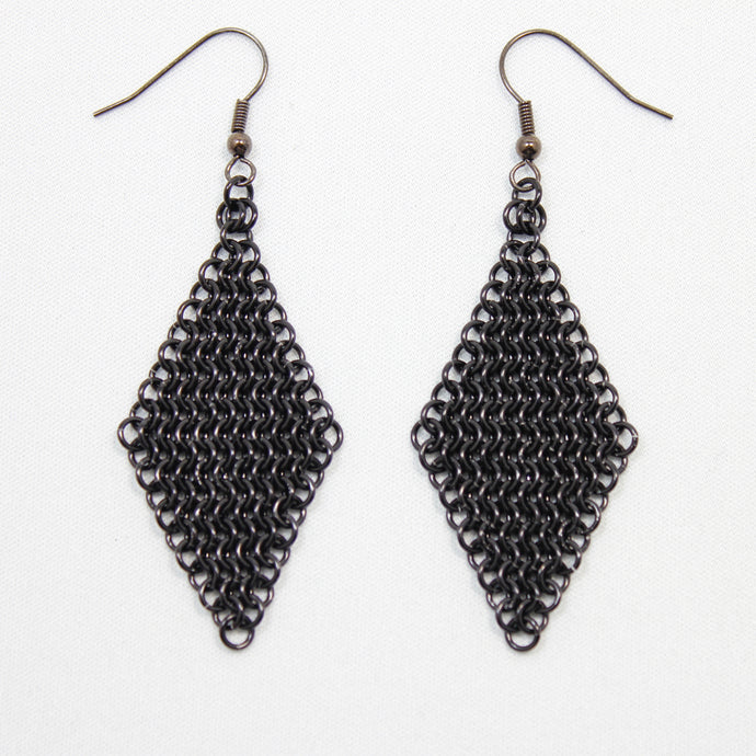 Micro Mesh Ear Rings in Black