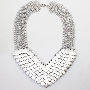 Metal Petal Necklace in Silver